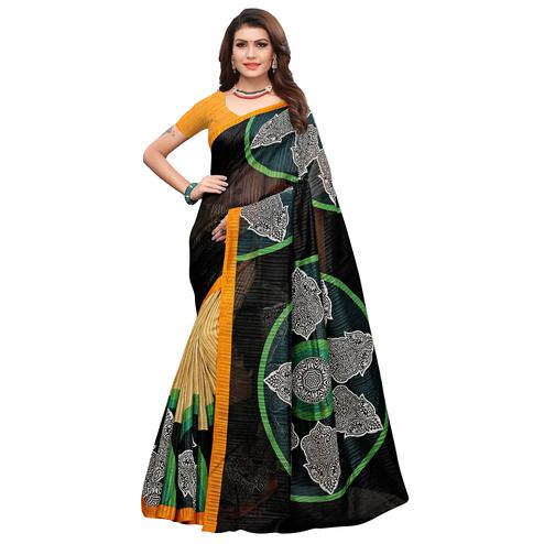Amazing Black-Yellow Colored Casual Printed Art Silk Saree