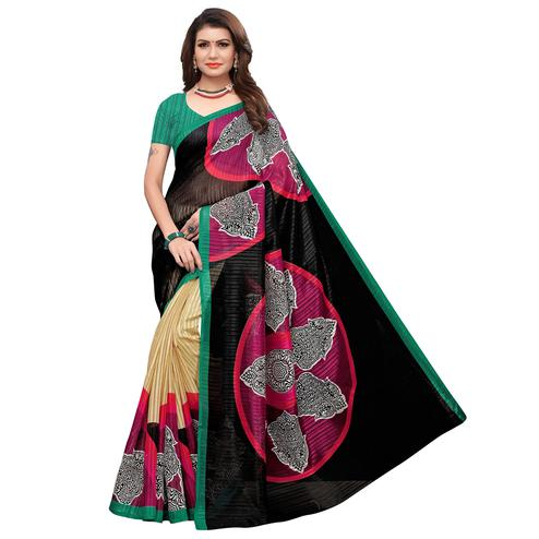 Exotic Black-Green Colored Casual Printed Art Silk Saree