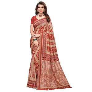 Majesty Red Colored Casual Printed Art Silk Saree