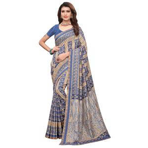 Excellent Blue Colored Casual Printed Art Silk Saree