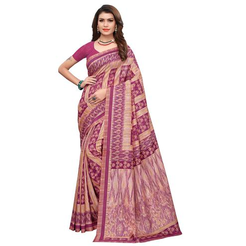 Exceptional Magenta Pink Colored Casual Printed Art Silk Saree