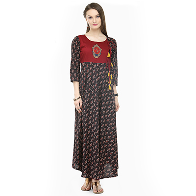 Graceful Black Designer Printed South Cotton Kurti