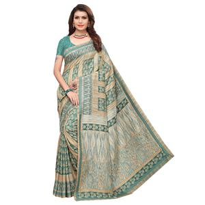 Arresting Green Colored Casual Printed Art Silk Saree