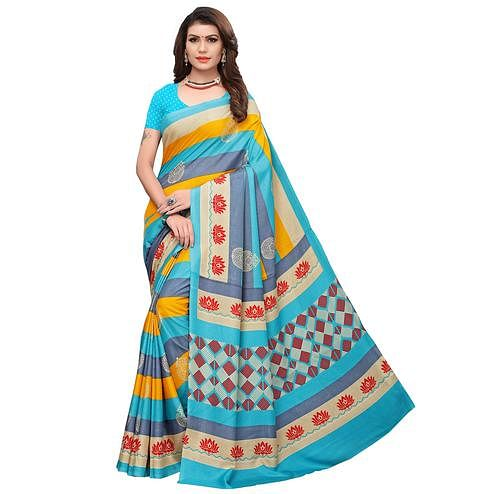 Gleaming Sky Blue-Multi Colored Casual Printed Art Silk Saree
