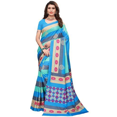 Innovative Blue-Multi Colored Casual Printed Art Silk Saree