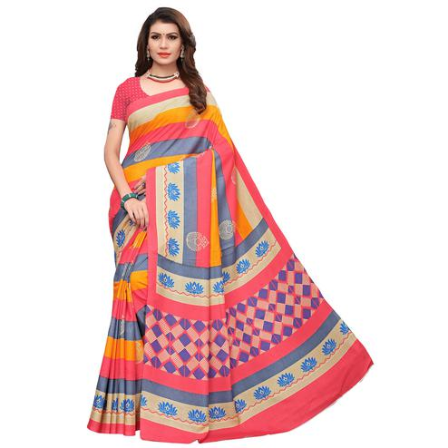 Impressive Red-Multi Colored Casual Printed Art Silk Saree