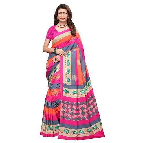 Breathtaking Pink-Multi Colored Casual Printed Art Silk Saree