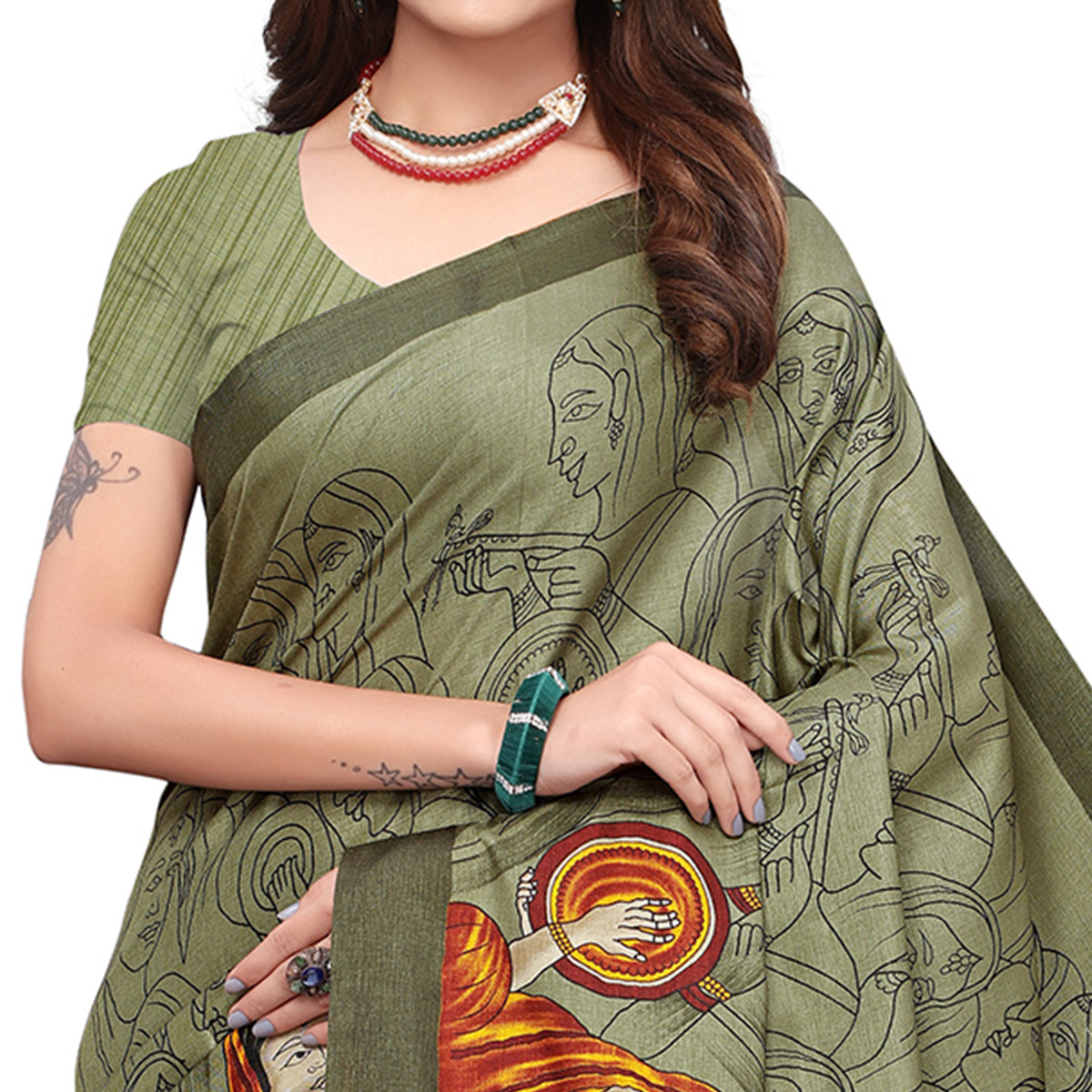 Flattering Olive Green Colored Casual Printed Art Silk Saree