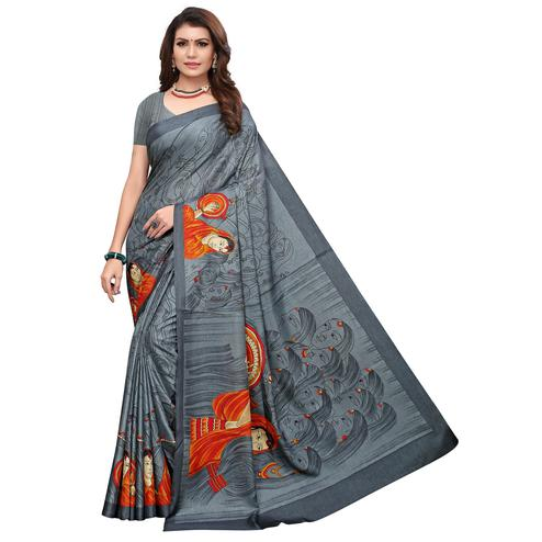 Dazzling Gray Colored Casual Printed Art Silk Saree