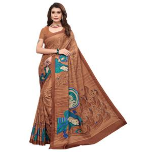 Sensational Brown Colored Casual Printed Art Silk Saree