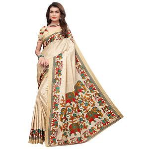Radiant Beige Colored Casual Printed Art Silk Saree