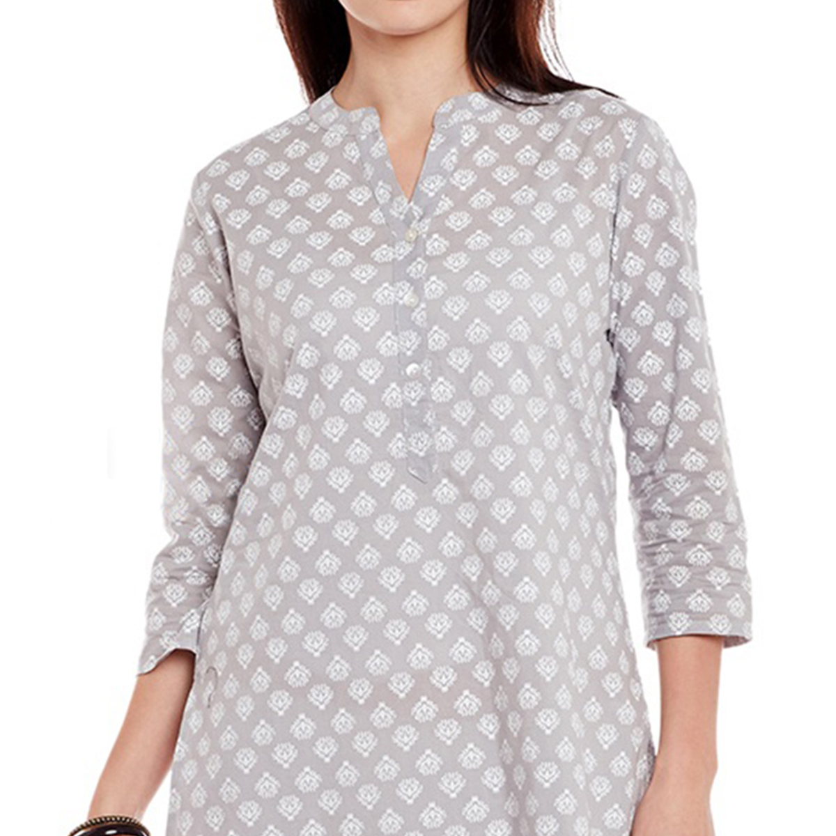 Charming Gray-White Printed Cotton Kurti