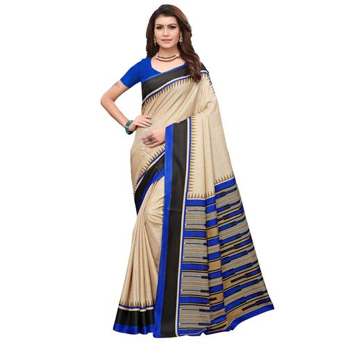 Alluring Cream-Blue Colored Casual Printed Art Silk Saree