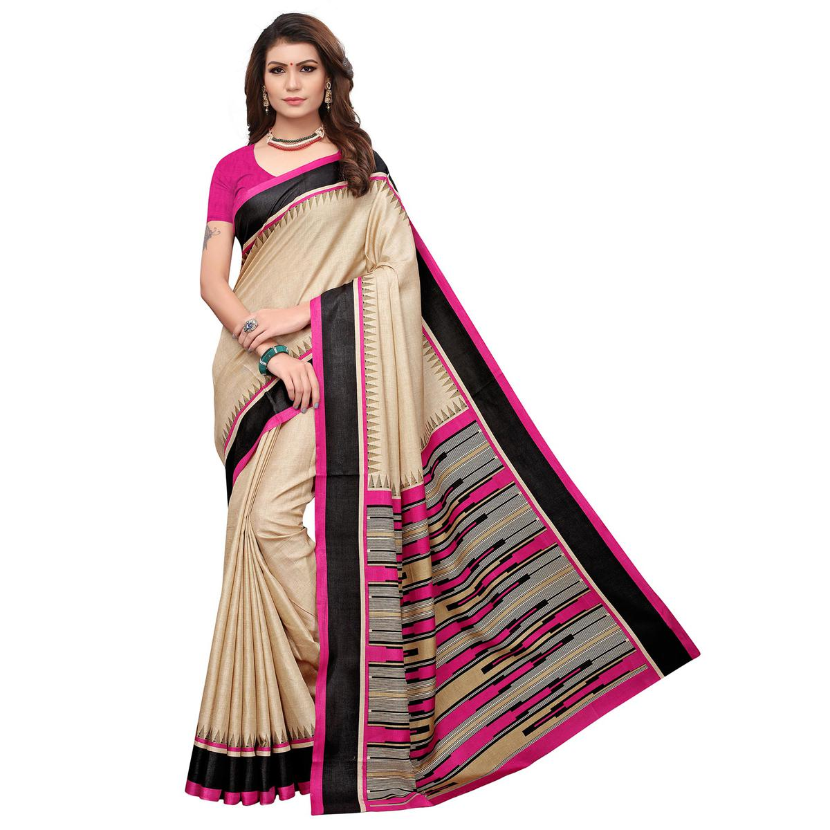 Elegant Cream-Pink Colored Casual Printed Art Silk Saree