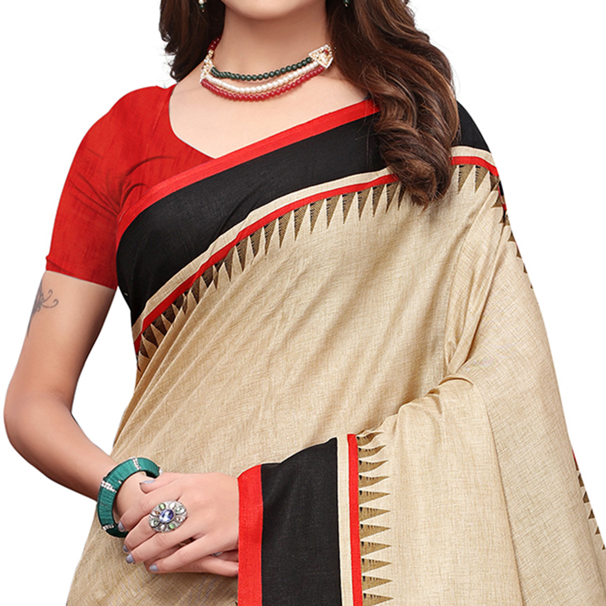 Refreshing Cream-Red Colored Casual Printed Art Silk Saree