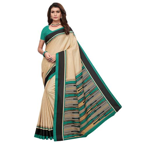 Appealing Cream-Green Colored Casual Printed Art Silk Saree