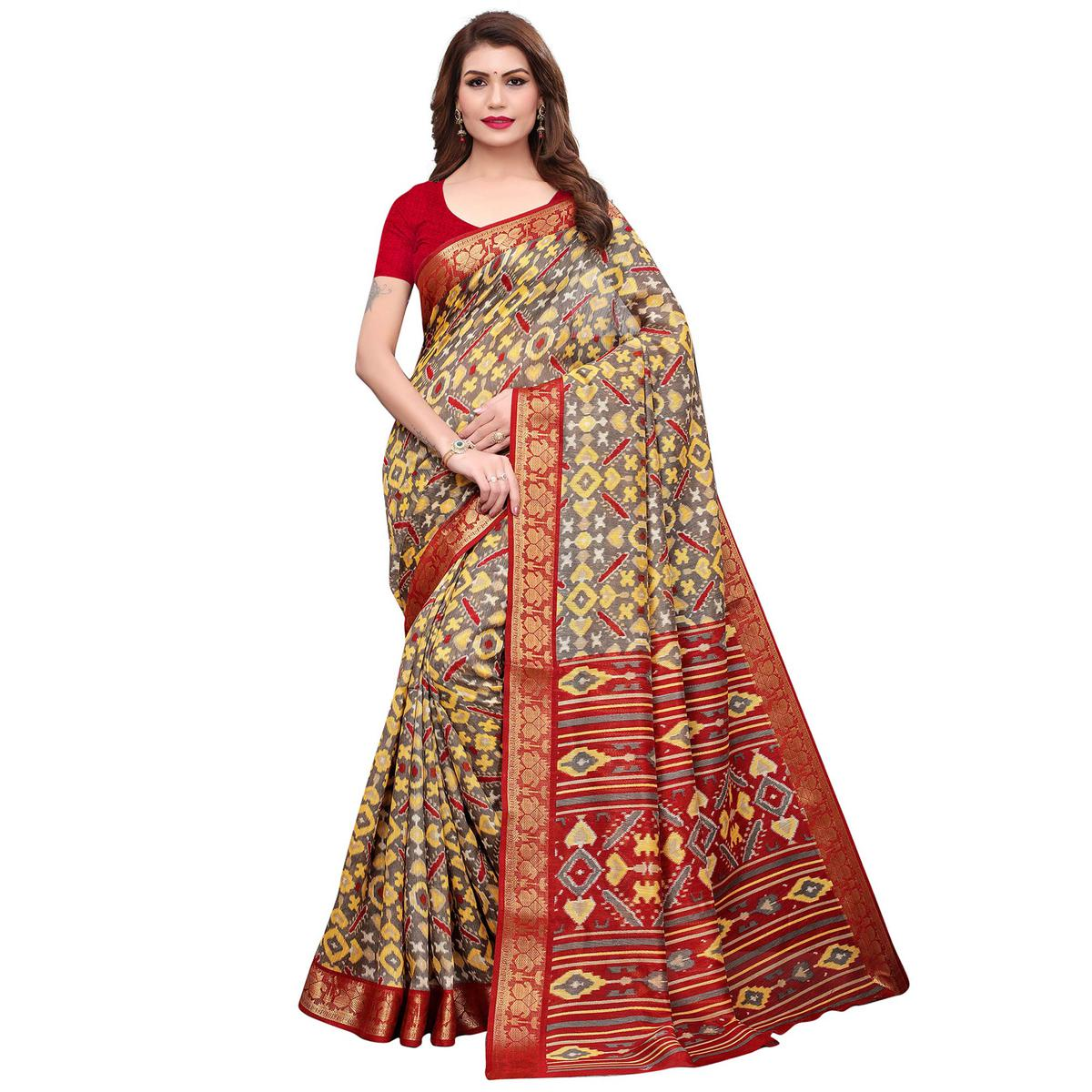 Pleasant Gray-Red Colored Casual Printed Art Silk Saree