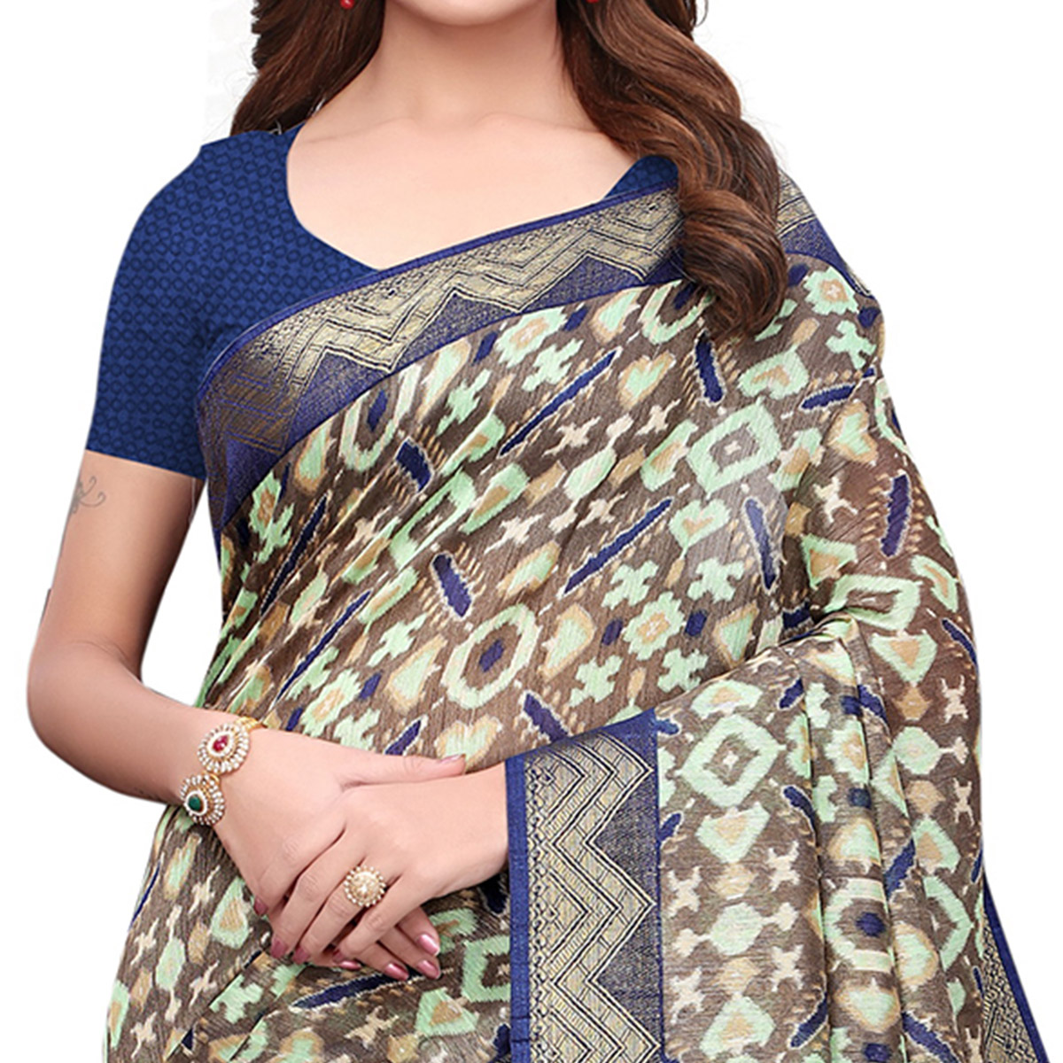 Sophisticated Gray-Blue Colored Casual Printed Art Silk Saree
