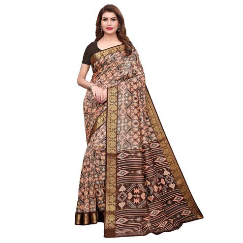 Desirable Gray-Brown Colored Casual Printed Art Silk Saree