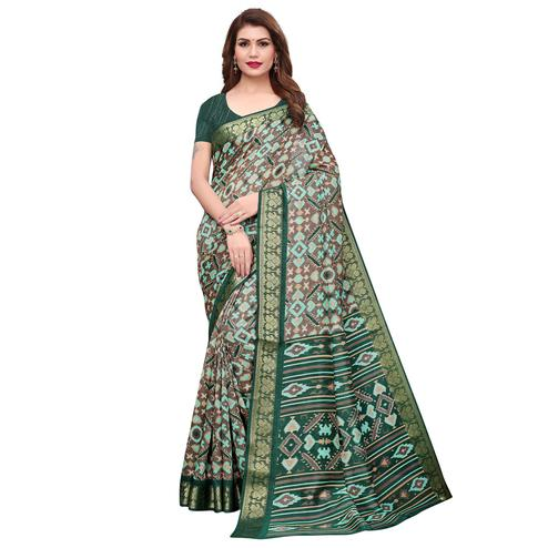 Intricate Gray-Green Colored Casual Printed Art Silk Saree