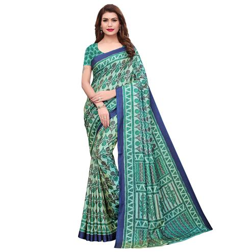 Appealing Turquoise Green Colored Casual Printed Silk Saree