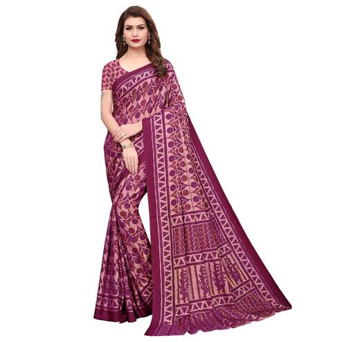 Groovy Magenta Pink Colored Casual Printed Silk Saree
