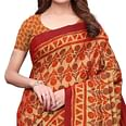 Prominent Light Orange Colored Casual Printed Silk Saree