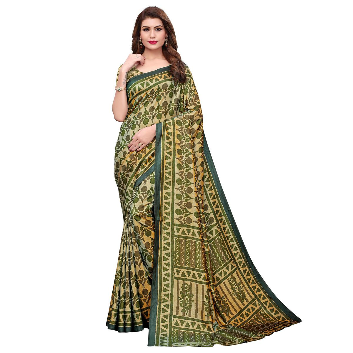 Capricious Light Green Colored Casual Printed Silk Saree