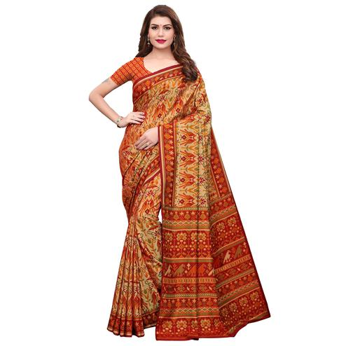 Adorning Light Orange Colored Casual Printed Silk Saree