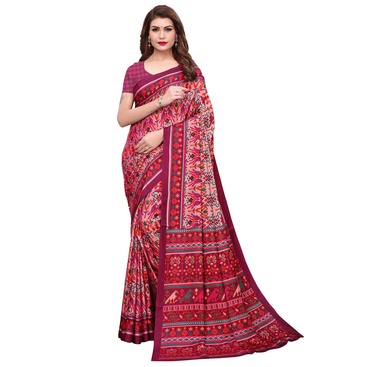 Captivating Pink Colored Casual Printed Silk Saree