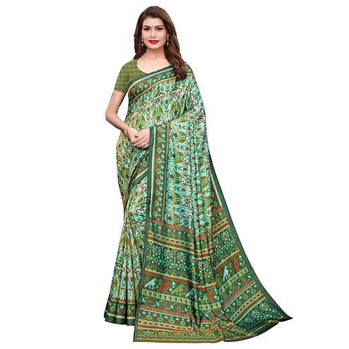 Refreshing Light Green Colored Casual Printed Silk Saree