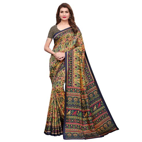 Elegant Light Yellow Colored Casual Printed Silk Saree