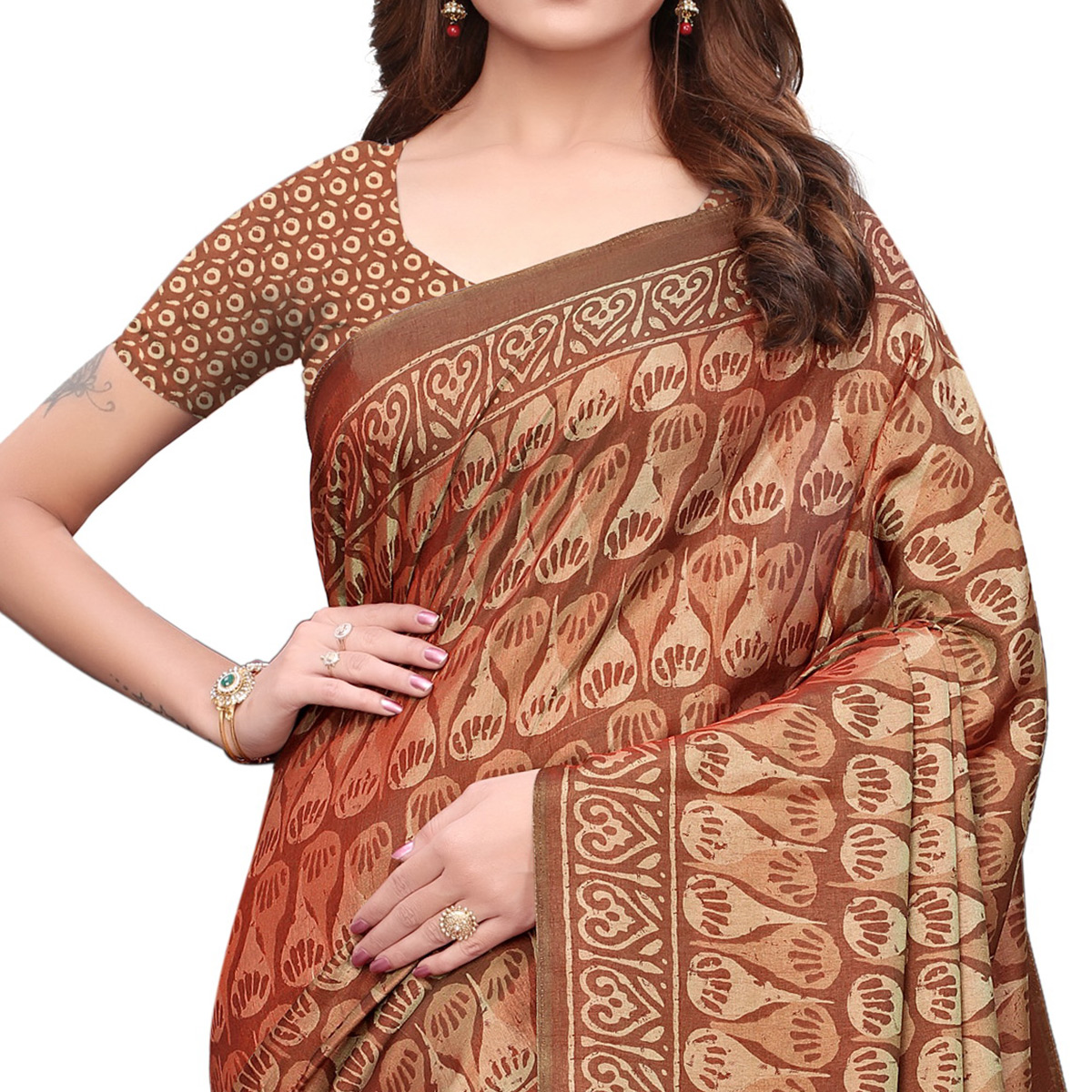 Alluring Brown Colored Casual Printed Silk Saree