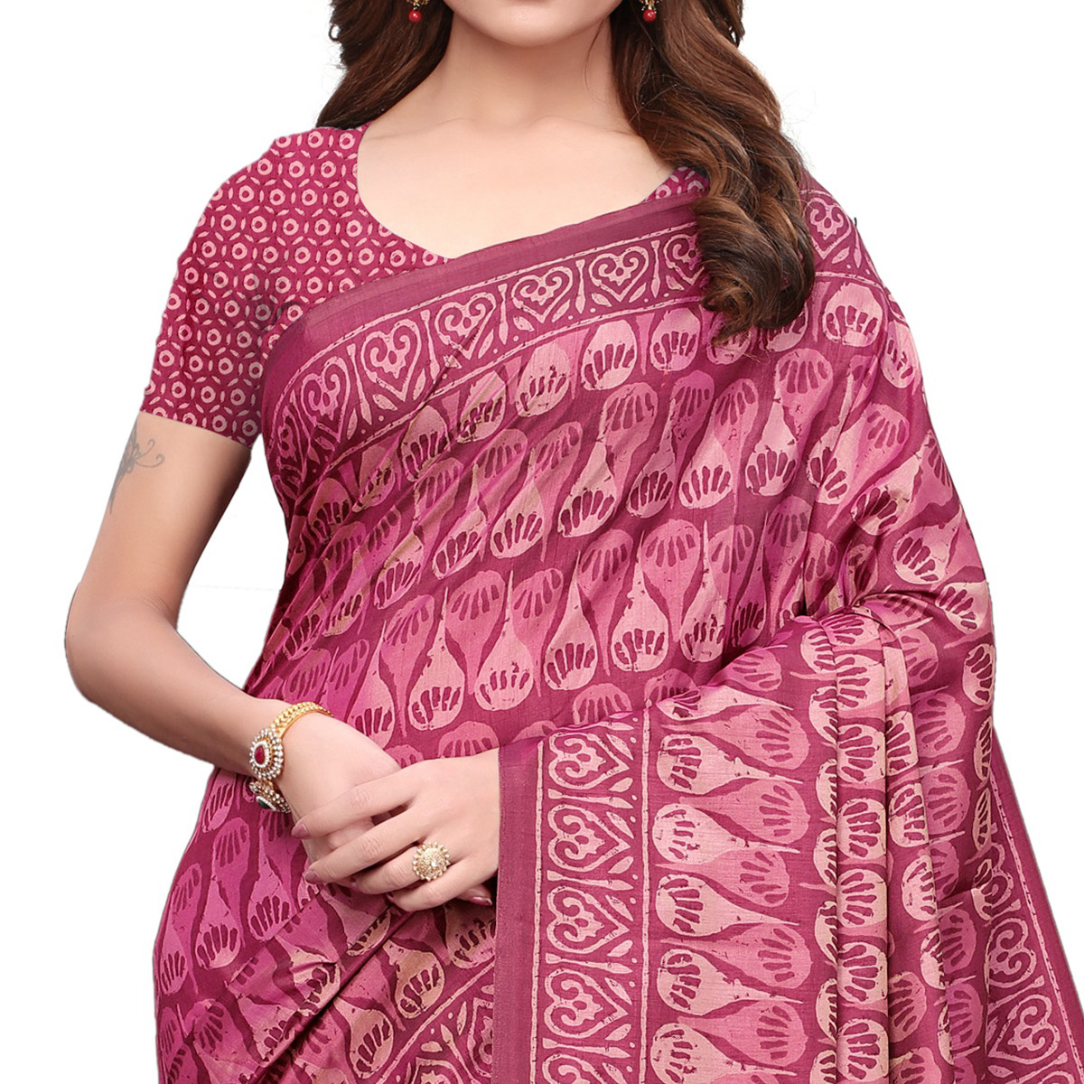 Radiant Pink Colored Casual Printed Silk Saree