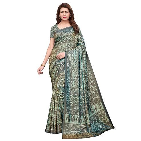 Sensational Gray Colored Casual Printed Silk Saree