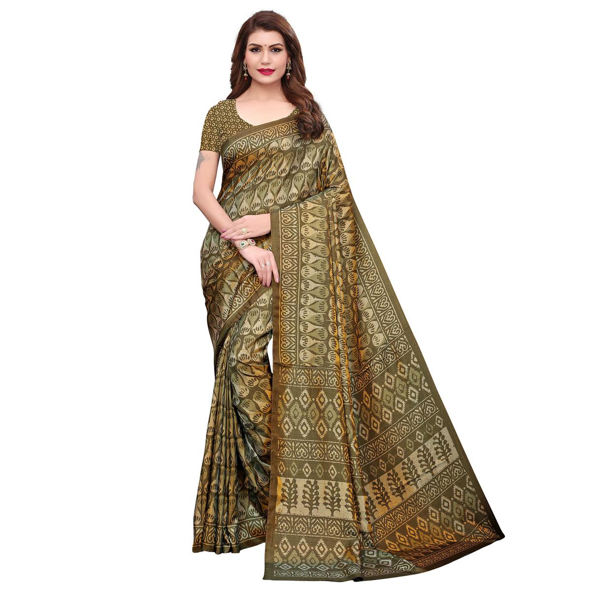 Opulent Mehendi Green Colored Casual Printed Silk Saree