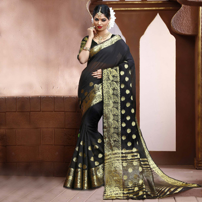 Black Zari Weaved Saree