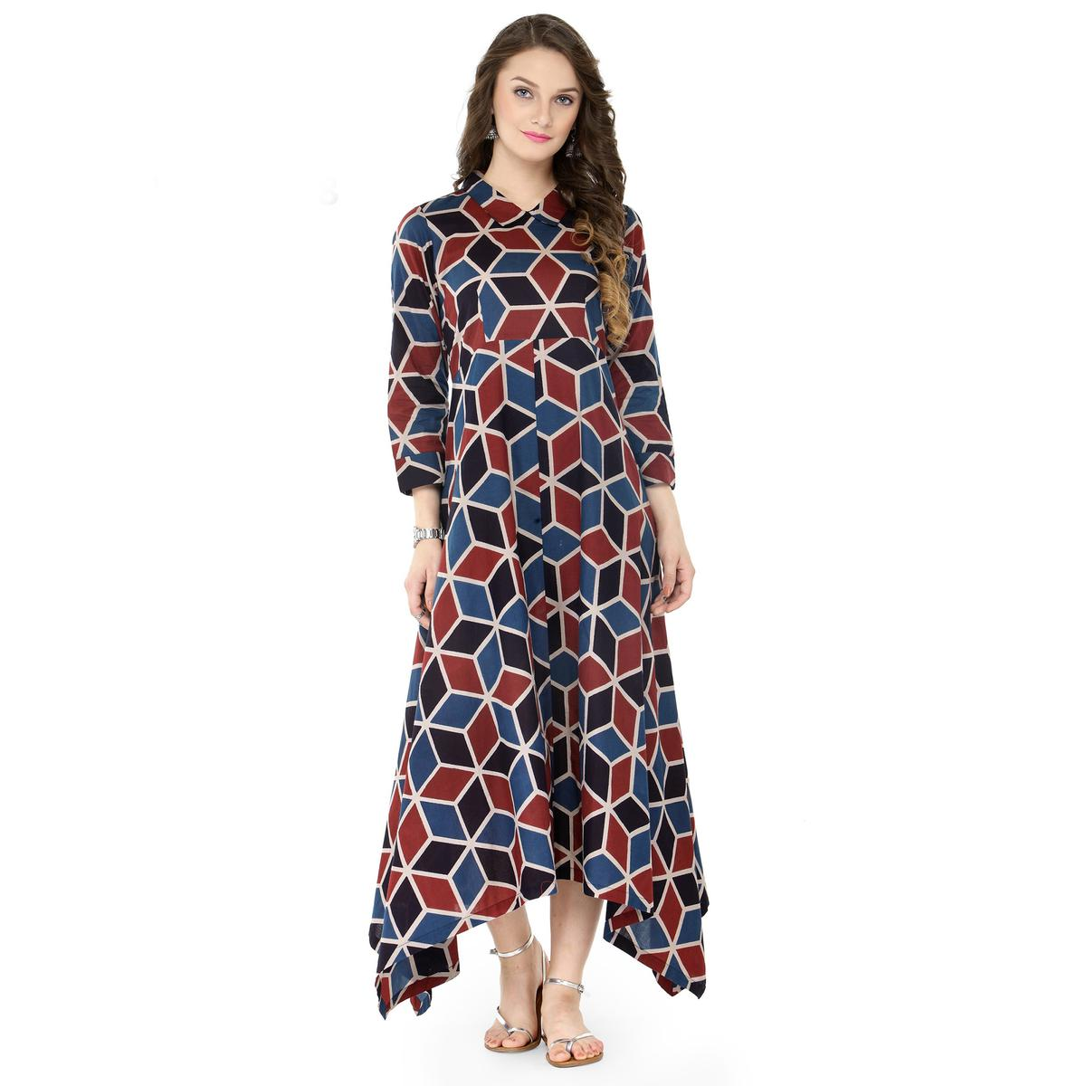 Trendy Multi Printed Cotton Kurti