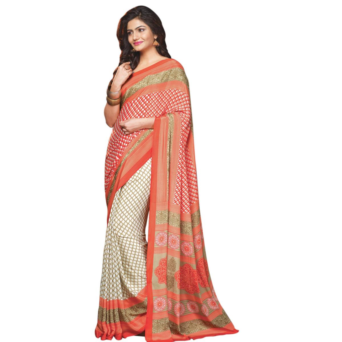 Attractive White-Peach Colored Casual Printed Crepe Half-Half Saree