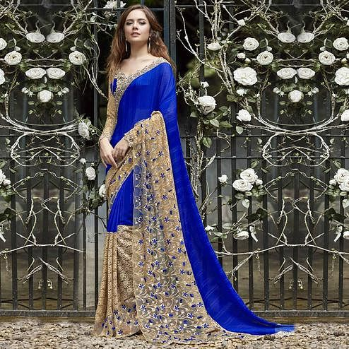 Lovely Blue Colored Partywear Embroidered Faux Georgette Saree