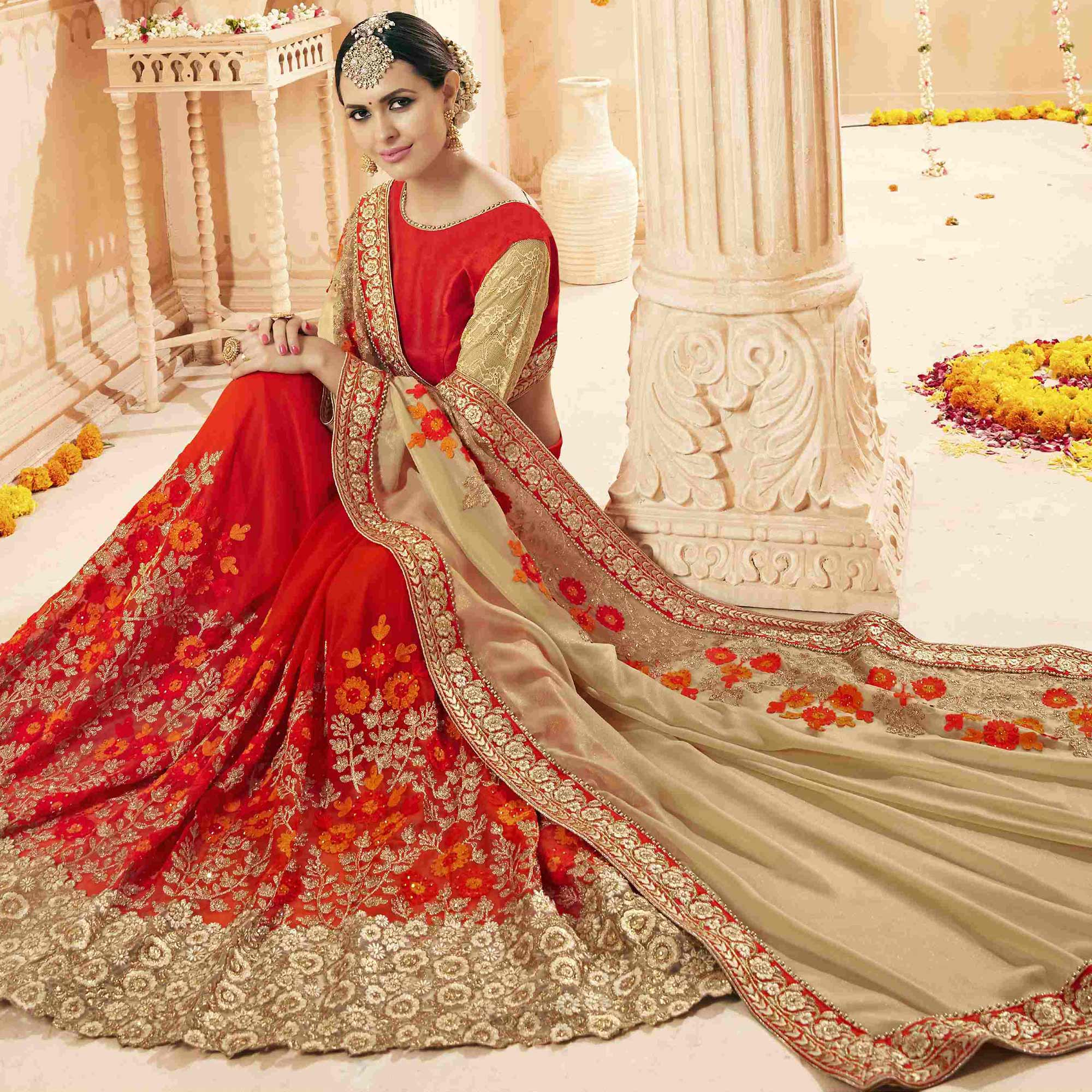 Ravishing Red-Beige Colored Partywear Embroidered Faux Georgette Saree