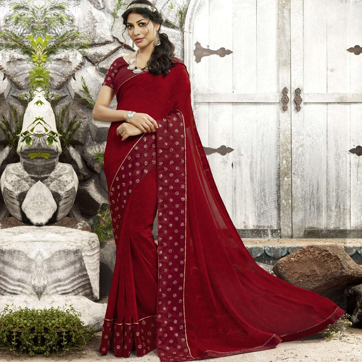Desirable Maroon Colored Partywear Printed Georgette Saree