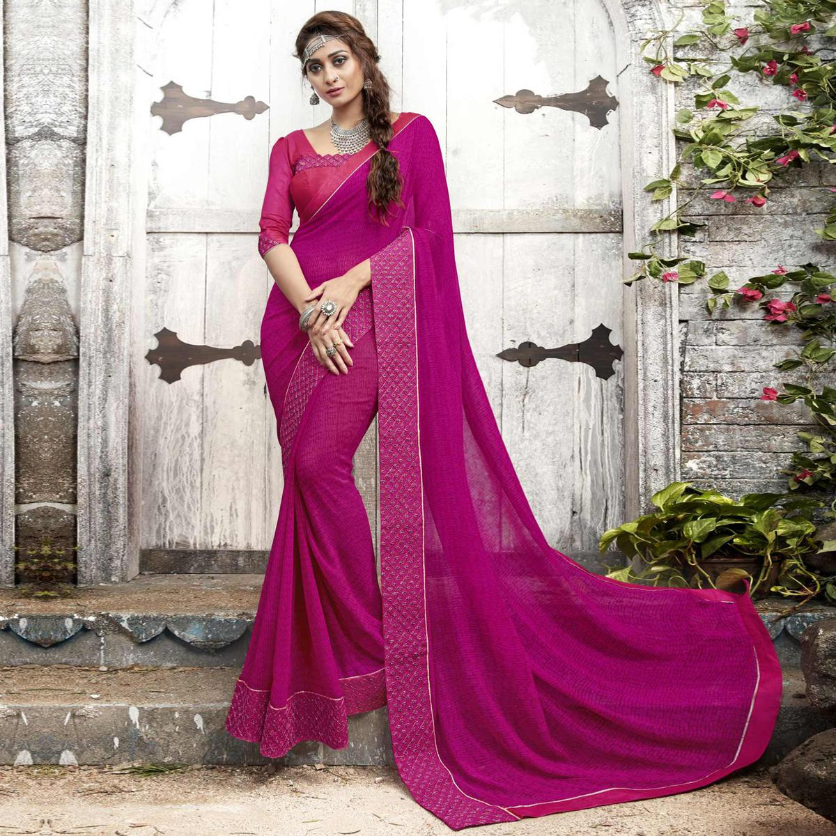 Sophisticated Magenta Pink Colored Partywear Printed Georgette Saree