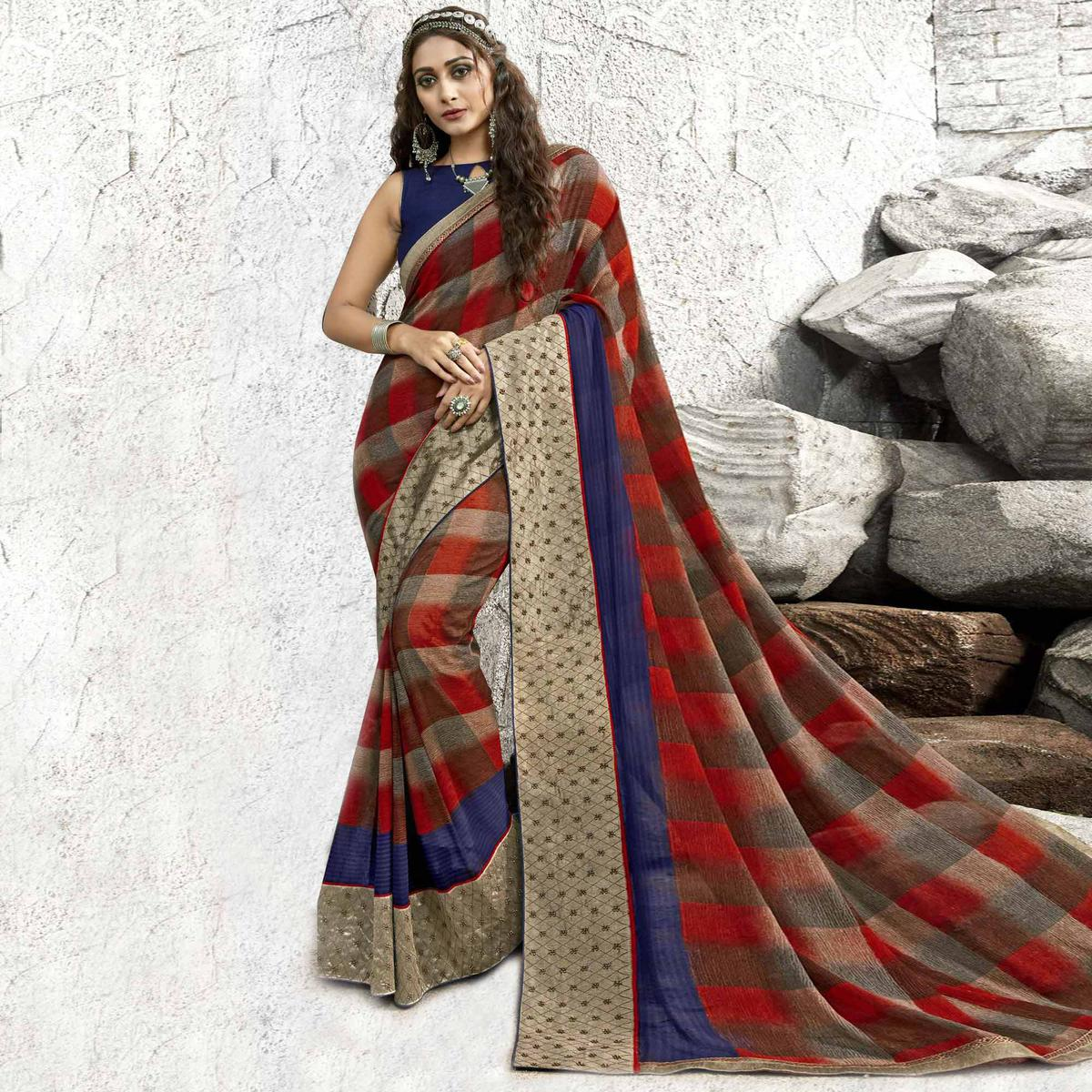 Jazzy Red-Multi Colored Partywear Printed Georgette Saree