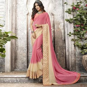 Appealing Pink-Cream Colored Partywear Printed Georgette Saree