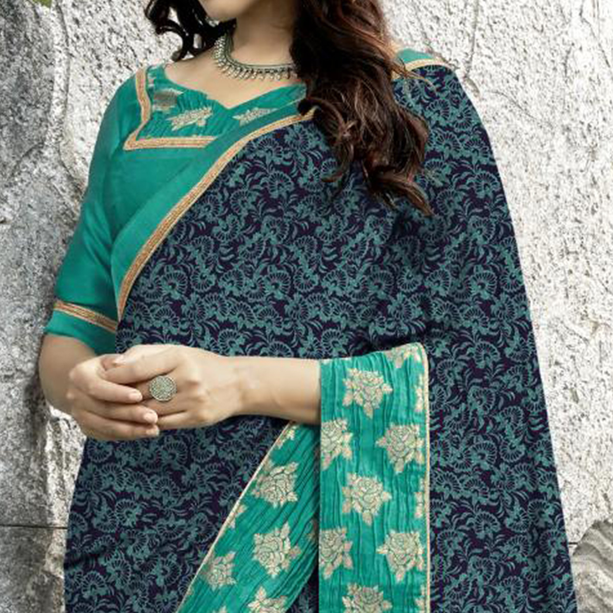Groovy Navy Blue Colored Partywear Printed Georgette Saree