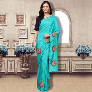 Refreshing Aqua Blue Colored Partywear Embroidered Silk Saree