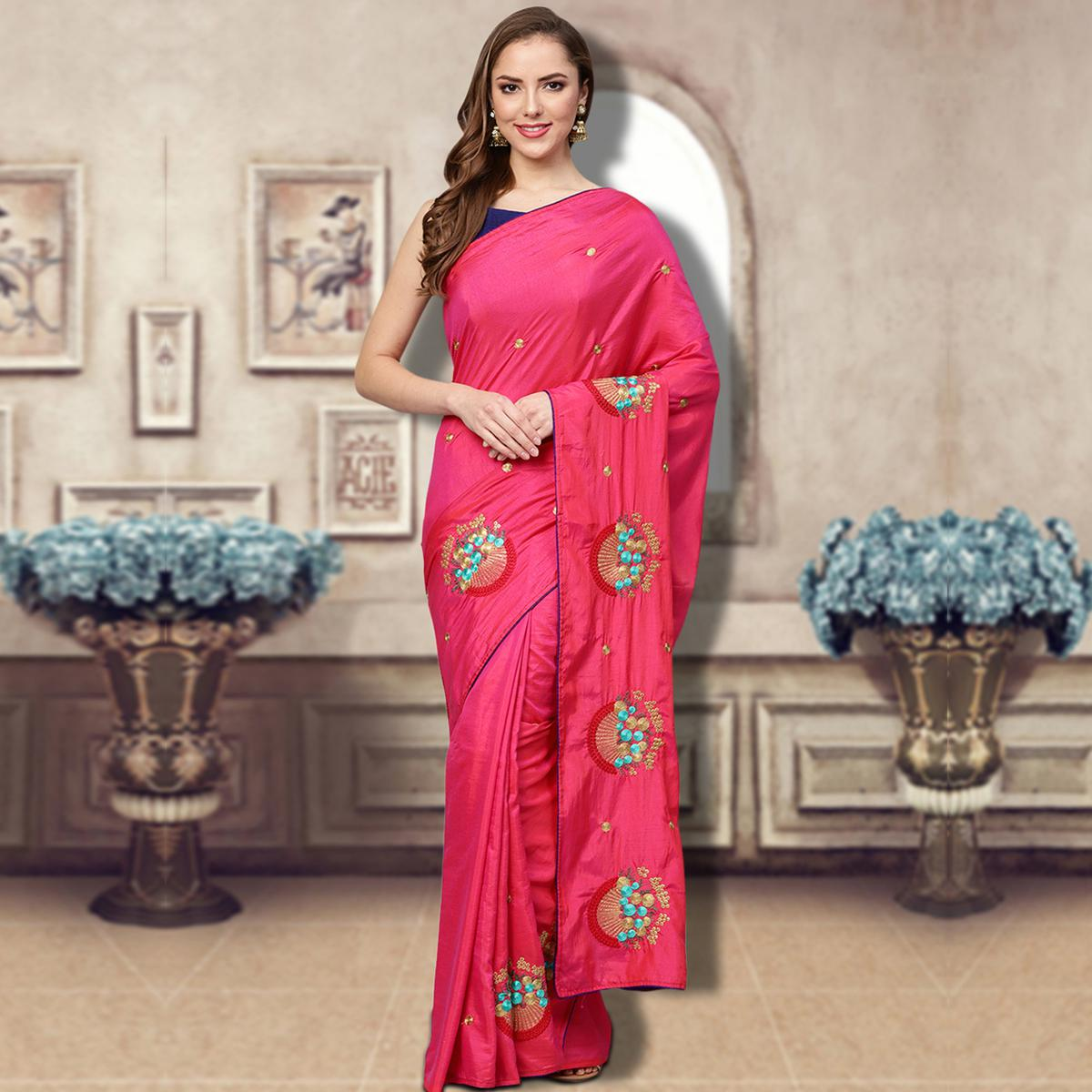 Gleaming Pink Colored Partywear Embroidered Silk Saree