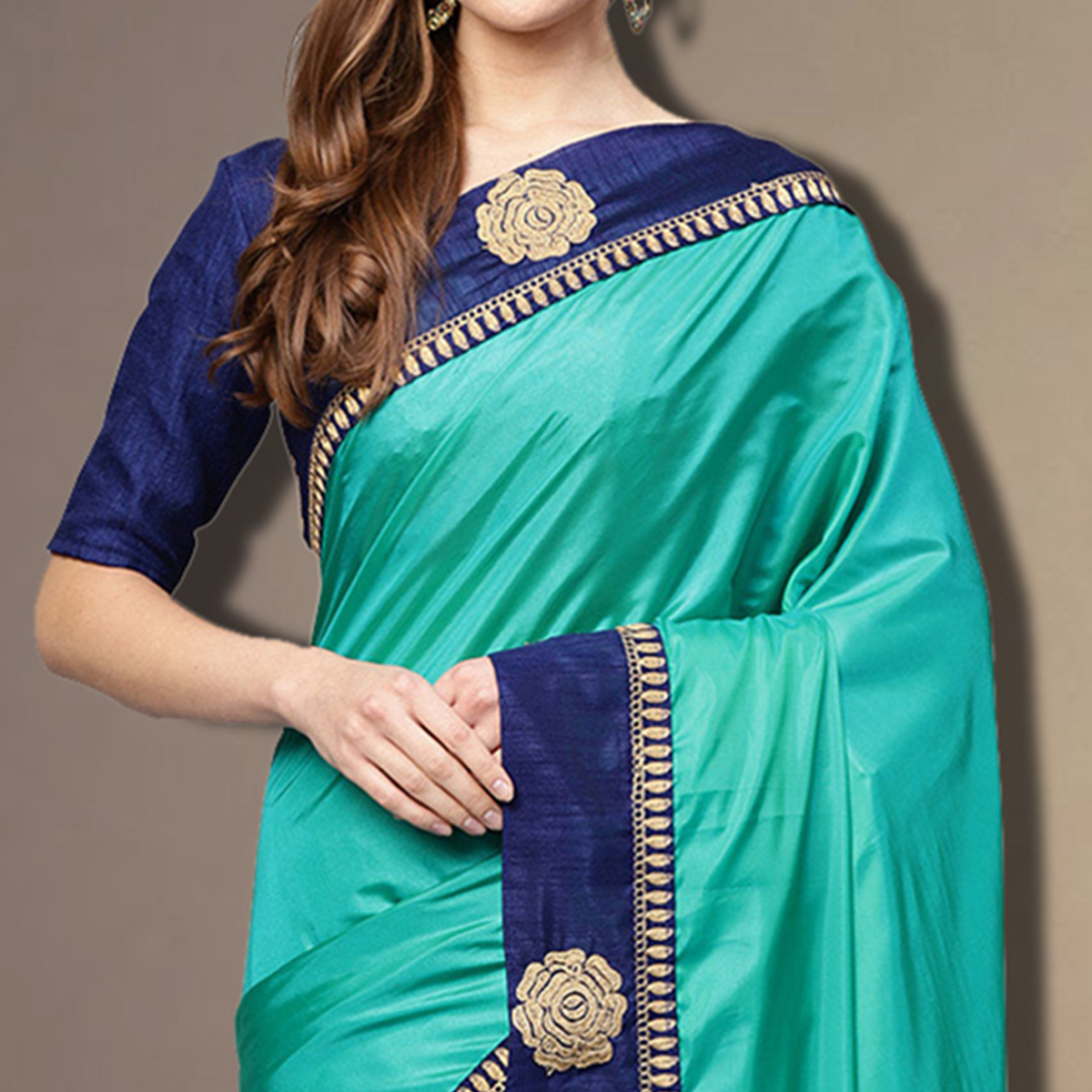 Stunning Aqua Blue Colored Partywear Embroidered Silk Saree