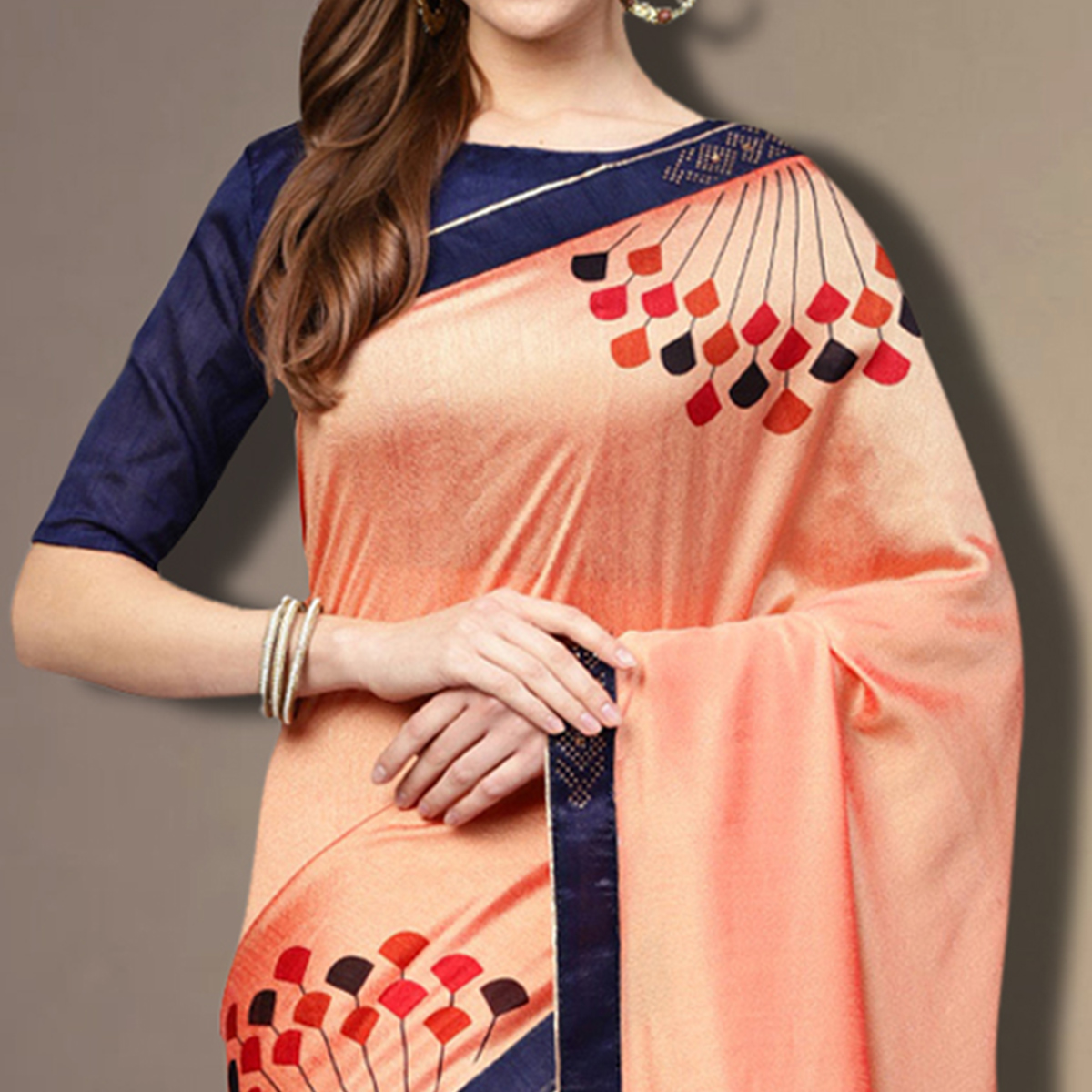 Fantastic Peach Colored Partywear Embroidered Silk Saree